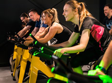 Group doing spin class