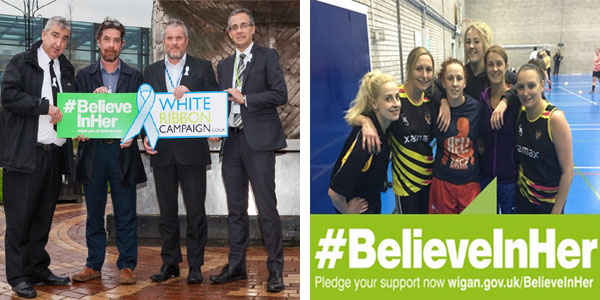Police and Health team and Leigh Miners Ladies team are pledging their support