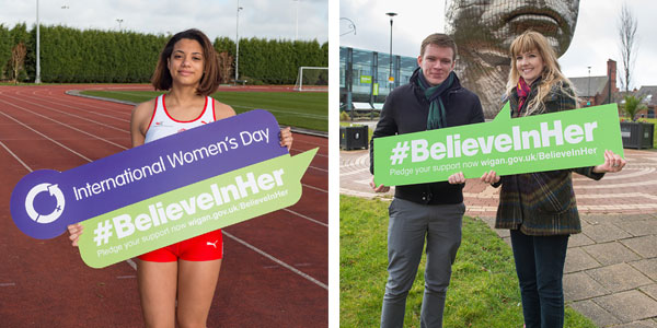 Zoe Hughes, Triple Jumper and Mark and Laura from Wigan Council showing their support