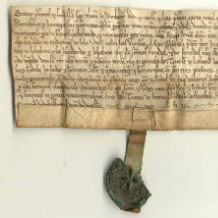 Old document with writing and original seal