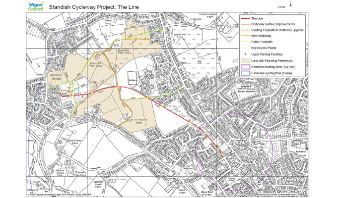 The Line project map in Standish